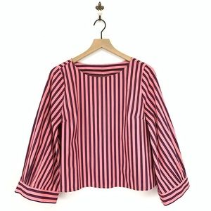 Topshop Pink Striped Wide Sleeve Top Size 8